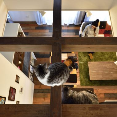 吹抜けにある梁は、家族の姿が見えて、安心できるお気に入りの場所・・・  家族の声を感じながら、猫ちゃんものんびりと・・・
